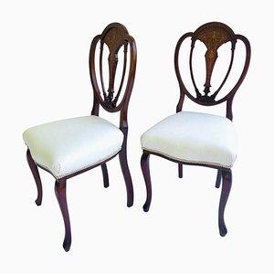 Antike viktorianische Beistellstühle aus Mahagoni mit Intarsien, 2er Set
