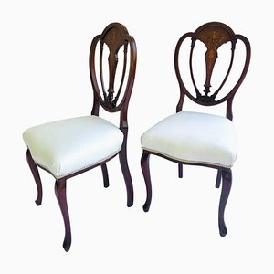 Antique Victorian Inlaid Mahogany Side Chairs, Set of 2
