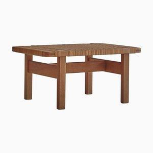 Table d'Appoint ou Banc en Chêne et Rotin par Børge Mogensen pour Fredericia, 1950s, Danemark