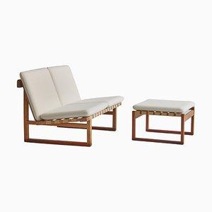 Modell 211 2-Sitzer Sofa & Fußhocker aus Eiche von Børge Mogensen für Fredericia, 1956, 2er Set