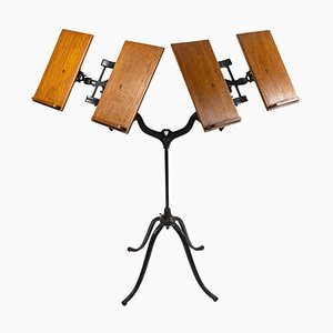 Double Lectern in Cast Iron and Wood