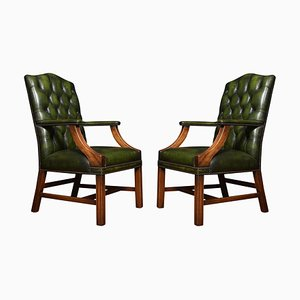 Georgian Style Leather Gainsborough Library Chairs, Set of 2