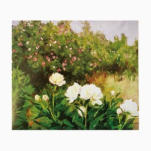 Boris Lavrenko, White Peonies, Oil on Canvas