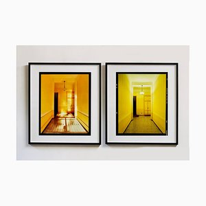 Yellow Corridor Day and Night, Milan, Interior Architecture Color Photograph, 2019