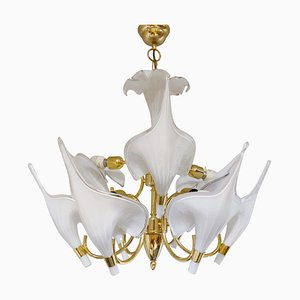 Murano Glass Canna Lily Chandelier, 1970s
