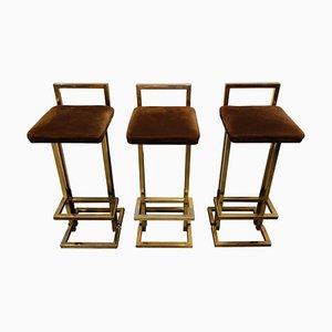 Brass Bar Stools from Belgochrom, 1970s, Set of 3