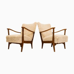 Easy Chairs in Sheepskin from Dux, Sweden, 1950s, Set of 2