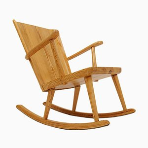 Mid-Century Rocking Chair in Pine from Göran Malmvall, Sweden, 1940s