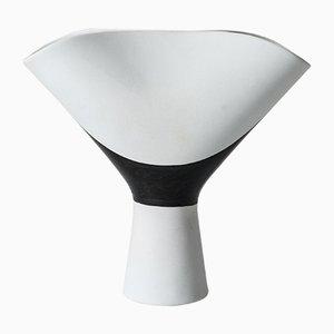 Schwarz-weiße Veckla Vase von Stig Lindberg