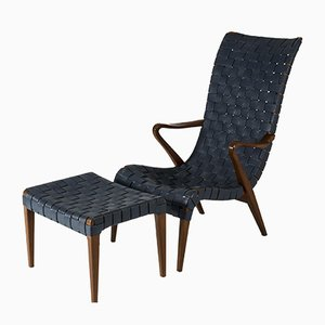 Lounge Chair with Footstool by Axel Larsson for Bodafors, Set of 2