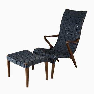 Sessel mit Fußhocker von Axel Larsson für Bodafors, 2er Set