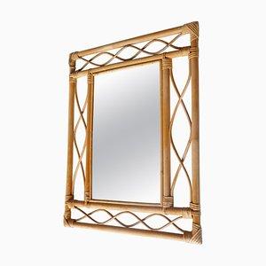 Rechteckiger Spiegel aus Rattan & Bambus, Frankreich, 1960er