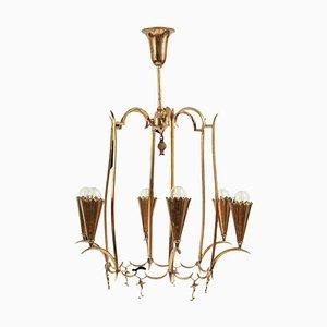 Art Deco Austrian Brass Chandelier in the Style of Dagobert Peche