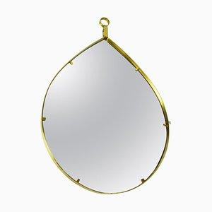 Mid-Century Italian Teardrop Wall Mirror in Brass by Gio Ponti