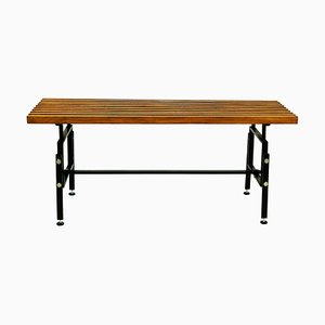 Mid-Century Italian Foldable Teak and Black Lacquered Steel Bench