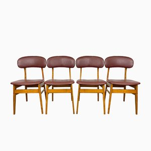 Dining Room Chairs with Red Leatherette, Set of 4
