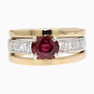 French Modern Ruby & Diamond 18 Karat Yellow and White Gold Ring