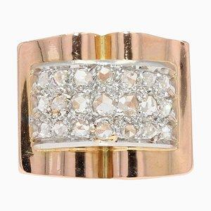 French Diamond Pavement 18 Karat Rose Gold Tank Ring, 1940s