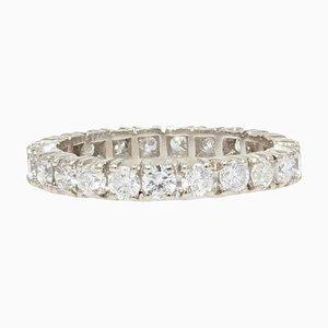 French Modern Diamond 18 Karat White Gold Band Wedding Ring
