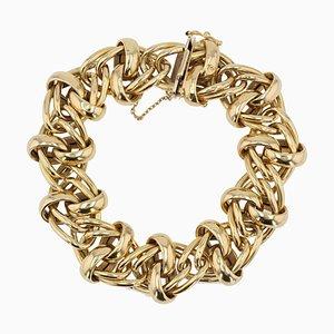 French Modern 18 Karat Yellow Gold Interlaced Patterns Bracelet