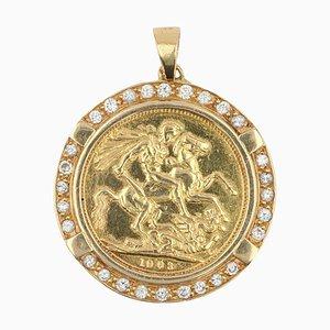 French Diamond 18 Karat Yellow Gold Barbade Coin Pendant