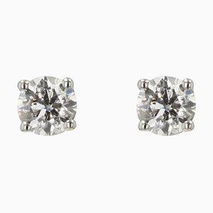 Moderne Diamant Ohrstecker aus 18 Karat Weißgold, 2er Set