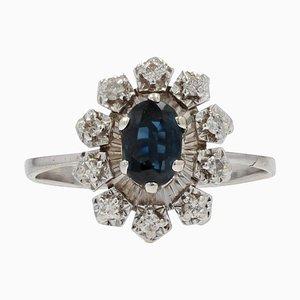 Französischer Ring aus 18 Karat Weißgold mit Saphir und Diamant, 1970er