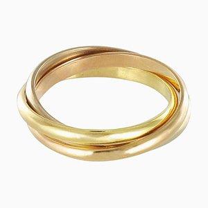 Modern 3 Colored 18 Karat Gold Wedding Ring