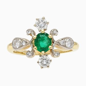 Französischer Moderner Smaragd & Diamant 18 Karat Gelbgold Platin Ring
