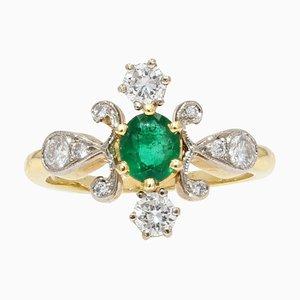 French Modern Emerald & Diamond 18 Karat Yellow Gold Platinum Ring