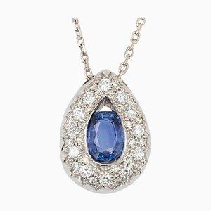 Modern Sapphire & Diamond 18 Karat White Gold Drop Pendant Necklace