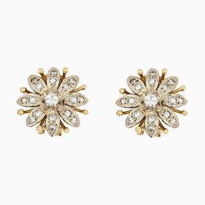 Diamond 18 Karat Yellow White Gold Flower Clip Earrings, 1960s