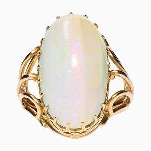 Opal 18 Karat Yellow Gold Ring, 1960s
