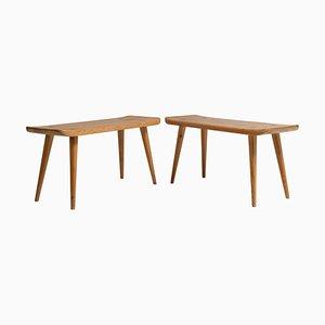 Skandinavische moderne Hocker aus massivem Pinienholz von Carl Malmsten für Visingsö, 2er Set