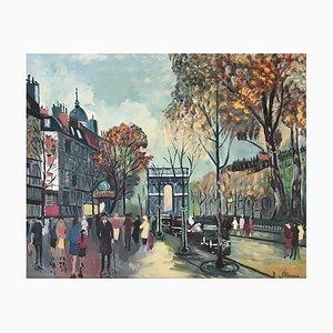 Roberto Gherardi, Place de l'Arc de Triomphe animée, 1980