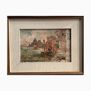 Antikes Ölgemälde auf Leinwand von Venedig von Todeschini, Early 1900er