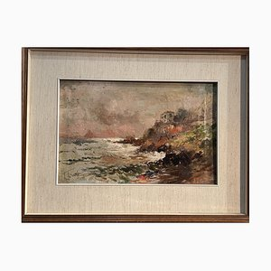 Antique Oil on Canvas of Marina by Todeschini, Early 1900s