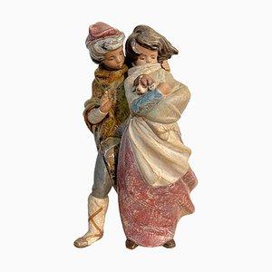 Keramik Kinder mit Welpen von Lladro, 20. Jh