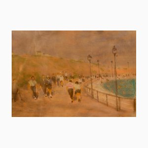 At the Seaside, Mid-Century Impressionist Pastel by William Mason, 1960s