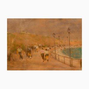 At the Seaside, Mid-Century Impressionist Pastell von William Mason, 1960er