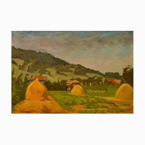 Helena Krajewska, Pogoro Foothills, Pologne, 1950, Peinture à l'Huile