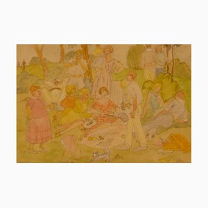 Watercolor of a Picnic in the Park Family Day Out, 20th Century