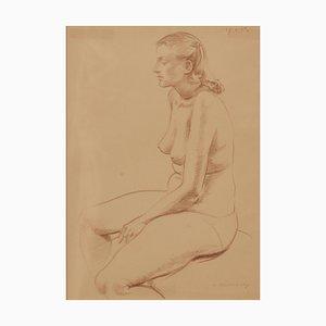 A. Bradbury, Nude Woman Still Life, 1957, Bleistift Figurativ