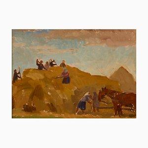 H Krajewska, Laszczyn, Building a Stack 2, Mid-20th Century, Peinture à l'Huile