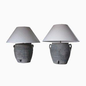 Lampen mit Leinenschirmen, 2er Set