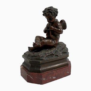 Kleiner Bronze Cherub auf Marmorsockel, spätes 19. Jh