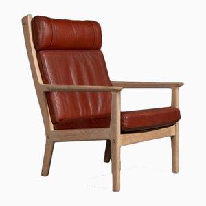 Red-Brown Leather GE265 Armchair by Hans J. Wegner for Getama, 1970s