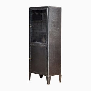 Vintage Steel and Glass Medical Display Cabinet, 1930s