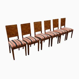 Art Deco Chairs in Poplar Briar with Upholstered Seats, Italy, Set of 6