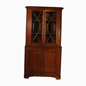Glazed Corner Cupboard in Oak, England, Early 19th-Century